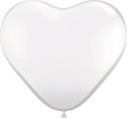 Hartballonnen Wit 25cm 100 stuks