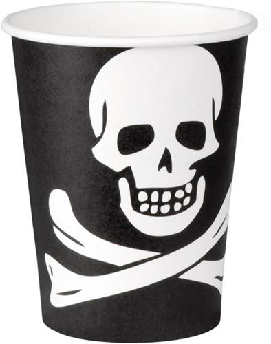 Bekers Piraat Doodshoofd 6st.
