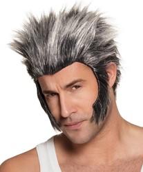 Pruik Weerwolf met Bakkebaarden Grijs-Zwart