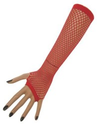 Nethandschoenen 23 cm z. Vingers Rood