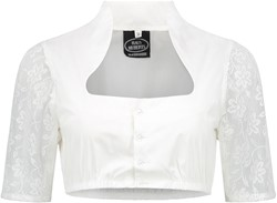 Dirndl Blouse Wit Opstaande Kraag (100% katoen)