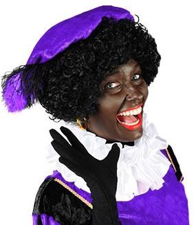Zwarte Piet Baret Paars met Veertjes (Velours)