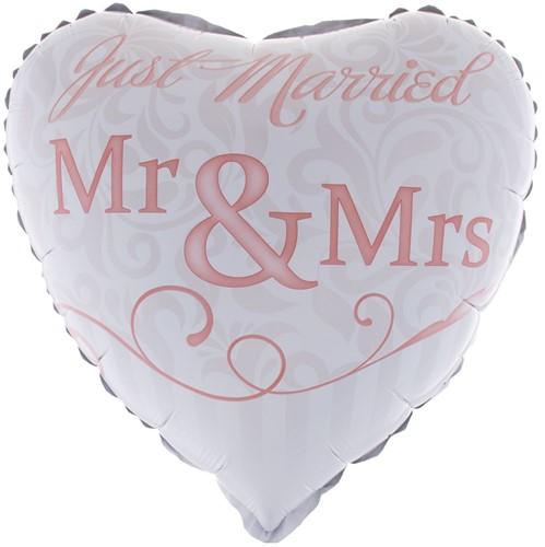 Folieballon Just Married - Mr & Mrs (46cm)