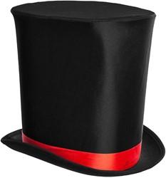 Hoge Hoed Zwart Luxe (Extra Hoog) met Rode Band
