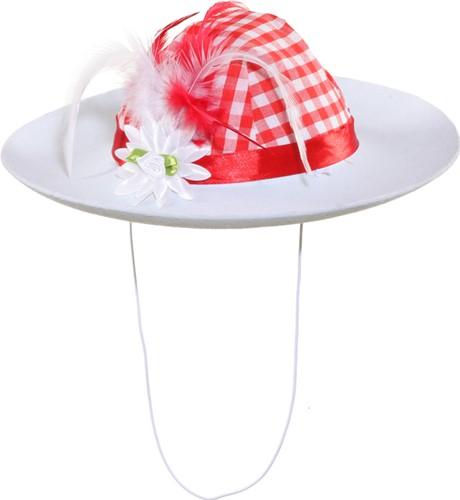 Tiroler Hoed Rood/Wit voor dames