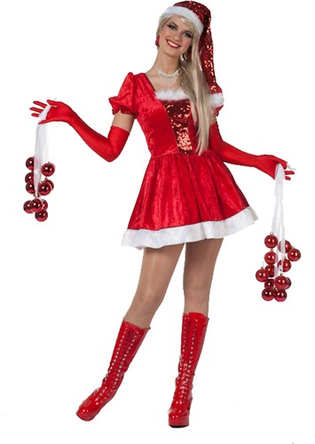 Damesjurkje Kerstvrouw Pailletten