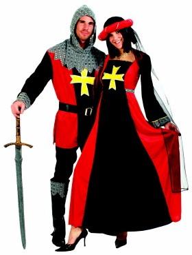 Kostuum Jonkvrouw Rood-Zwart voor dames