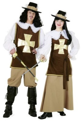 Kostuum Musketiersdame Bruin