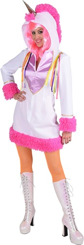 Damesjurkje Eenhoorn (Unicorn) Wit-Roze