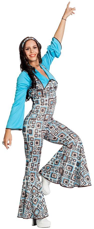 7769958e708 Hippie Disco Jumpsuit Retro Grijs-Turquoise