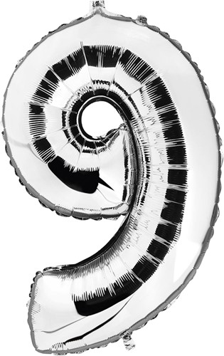 Folieballon Cijfer 9 Zilver 100cm