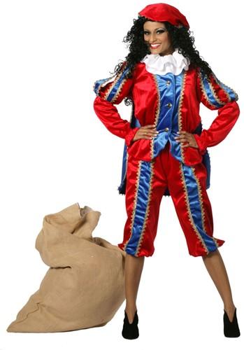 Dameskostuum Zwarte Piet Luxe met Cape Blauw-Rood