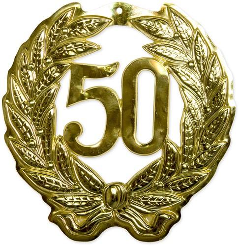 Wanddecoratie Krans 50 jaar Goud (42x45cm)