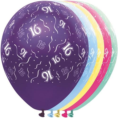 Ballonnen 16 jaar Metallic 5st