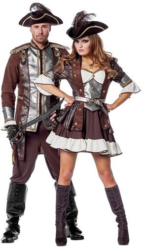 Dames Piratenjurk Bruin-Zilver Luxe (duo)