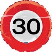 Folieballon 30 jaar Verkeersbord