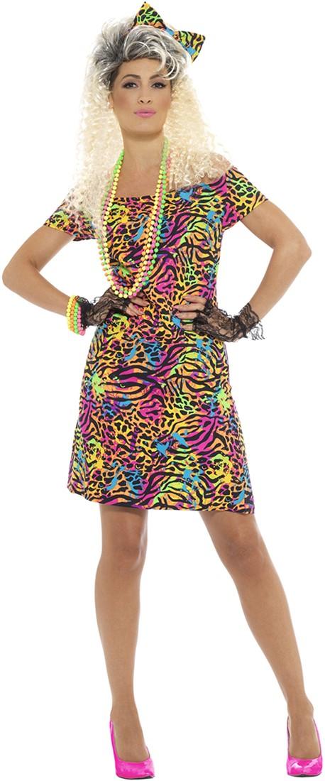 Favoriete Dames Jaren 80 Jurkje met Neon Panterprint #HU62