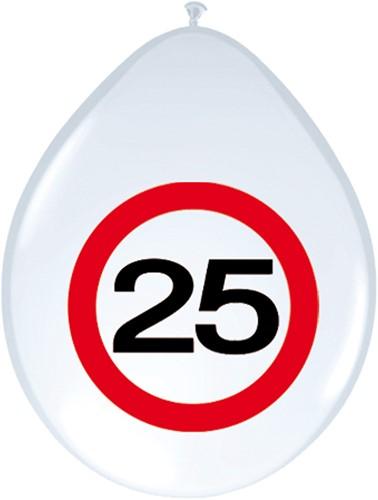 Ballonnen 25 jaar Verkeersbord 8st