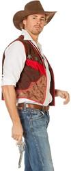 Cowboyvest Bruin-Rood (Wasleder)