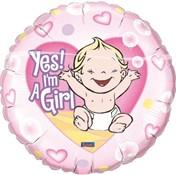 Folieballon Yes Girl! (46cm)