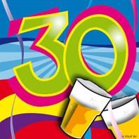 Servetten 30 jaar Swirl 20st