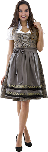 Dirndl Taupe-Donkerblauw Luxe 65cm 3dlg.