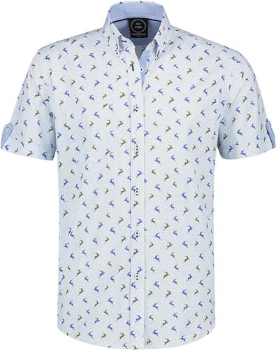 Trachtenhemd Blauw/Wit Korte Mouw met Hertjes (100% katoen)