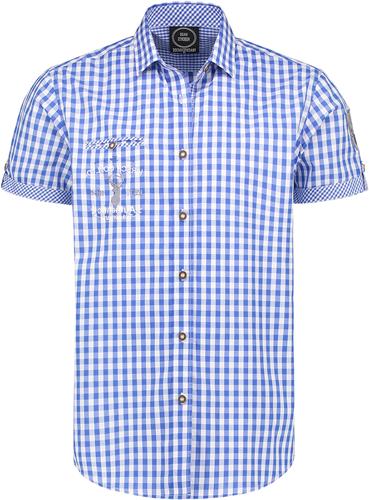 Trachtenhemd Blauw/Wit Korte Mouw (100% katoen)