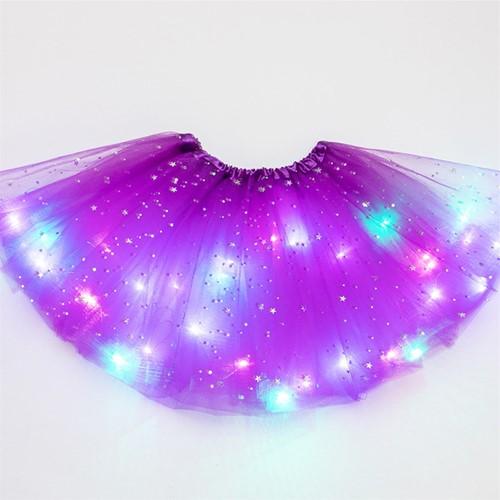 Kinder Tule Rokje Paars met Gekleurde LED-lichtjes