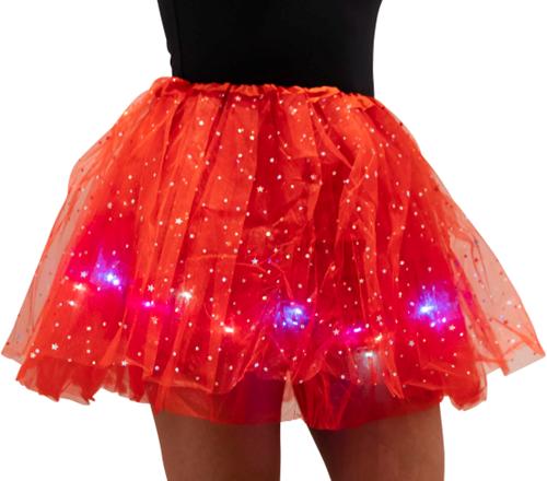 Kinder Tule Rokje Rood met Gekleurde LED-lichtjes
