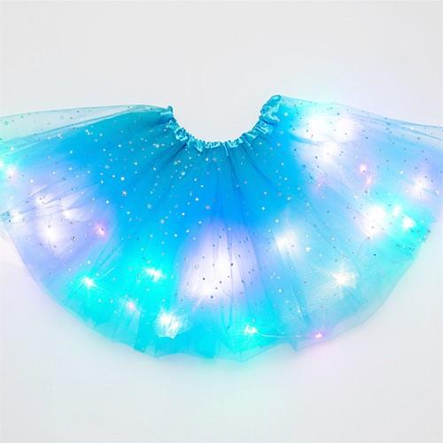 Tule Rokje Turquoise met Gekleurde LED-lichtjes