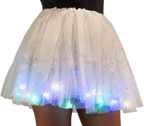 Kinder Tule Rokje Wit met Gekleurde LED-lichtjes