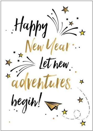 Wenskaart Happy New Year Let New Adventures Begin