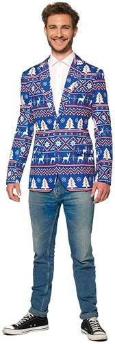 Colbert Suitmeister Christmas Blue Nordic voor heren