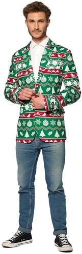 Colbert Suitmeister Christmas Green Nordic voor heren