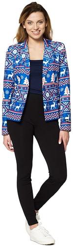 Dames Blazer Suitmeister Christmas Blue Nordic