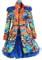 Dames Carnavalsjas Orange Rainbow Feathers