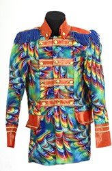 Heren Carnavalsjas Orange Rainbow Feathers