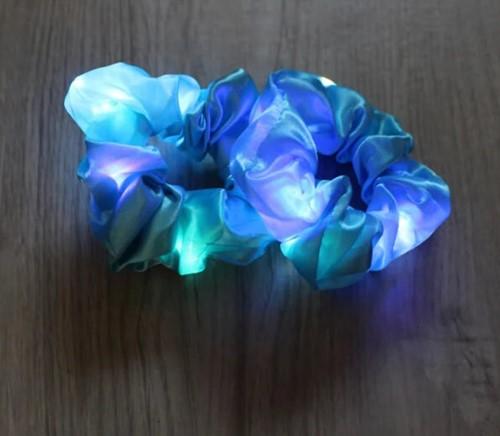 Scrunchie Blauw met LED-Lichtjes