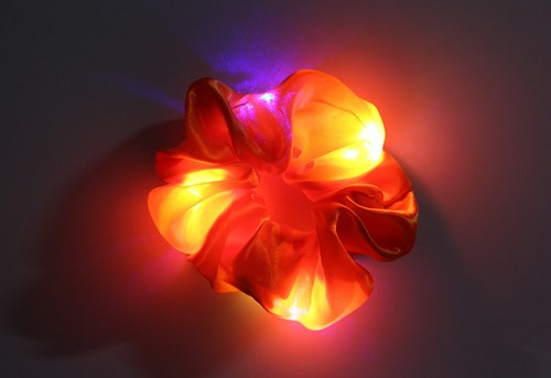 Scrunchie Oranje met LED-Lichtjes