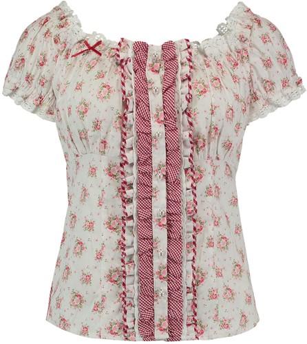 Tiroler Dames Blouse Roze Roosjes (100% katoen)